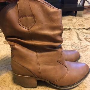 Tan 2.5 Inch Heeled Boots